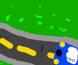 Very small stickman about to be hit by car