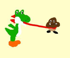 Yoshi eats goomba