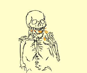 Spooky Skeleton eats Candy Corn
