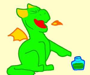 Dragon laughs at a green drink