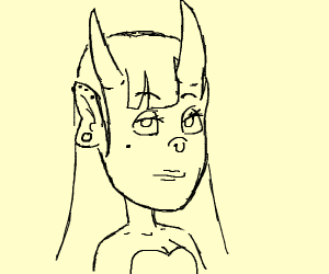 Oni girl with straight bangs and long hair