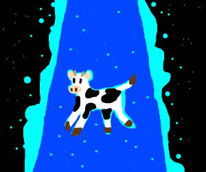 Cow beamed up by UFO.