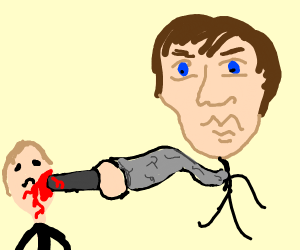 weirdly large head guy stabs a man