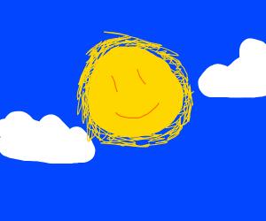 Fuzzy, smiling sun