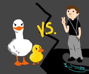 Ducks VS Guy on a hoverboard