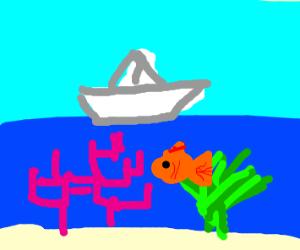 paper boat in the ocean