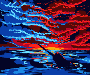 narwhal at sunset