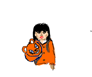 woman dressed as orange bear is angry