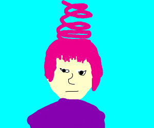 girl with pink corkscrew hairstyle