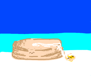 A sad pancake who lost his butter