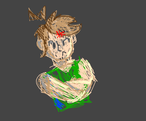Angry person with green shirt and brown hair