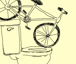 Bicycle  perfectly balanced on a toilet