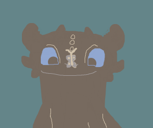 Toothless is flustered by butterfly on his no