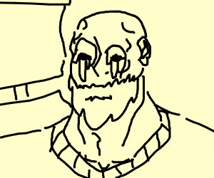 Old man on a sail boat with melting eyes!