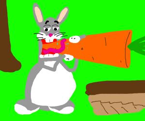 Big Chungus eats a big carrot.