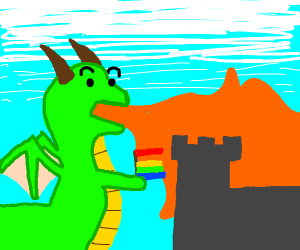 gay dragon burns down castle
