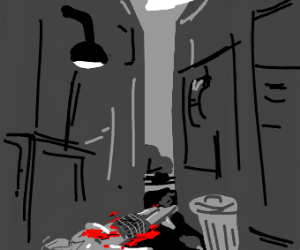 Bloody Corpse in a Back Alley