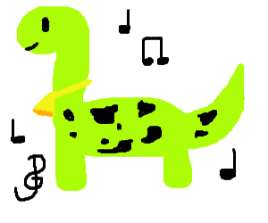 Dino-cow rocking out to music