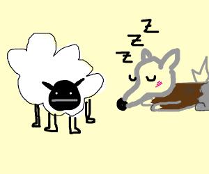 Kawaii Werewolf is calmly sleeping next to a