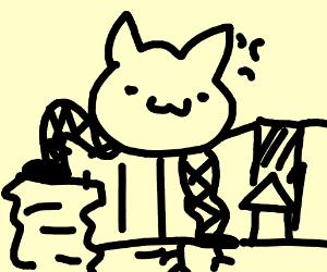Giant fire breathn cat w/buff legs over city