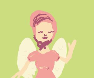 bonnet girl in pink wear with angel wings