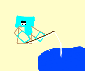 Squareheaded man fishing