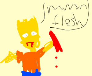 Bart Simpson hungers for flesh