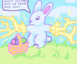 the easter bunny threatens with lightning