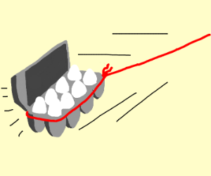 Egg carton pulled with red rope