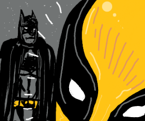 Batman dissapointed at yellow deadpool
