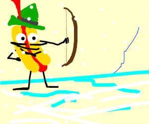 Robin hood as a hotdog in a freezy realm
