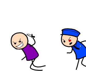 purple shirted eye stabber running from cops