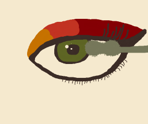 close up of applying mascara