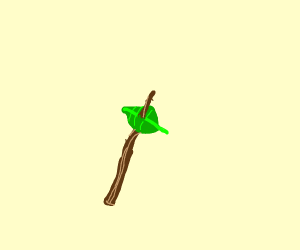 A stick with a leaf on it