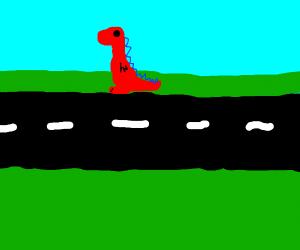 Dinosaur crossing road