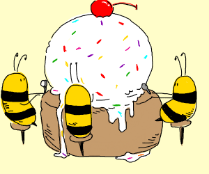 bees share an icecream