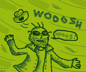 Guy with beard and sunglasses. Windy