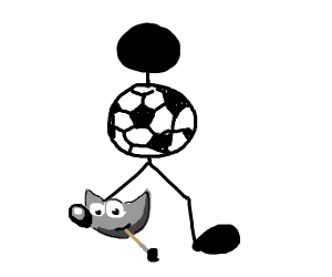 Man with gimp leg and soccer ball body