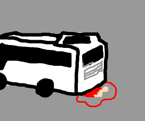 girl being ran over by a bus.