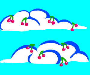 cherries growing out of a cloud