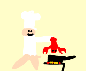 chef cooking lobster