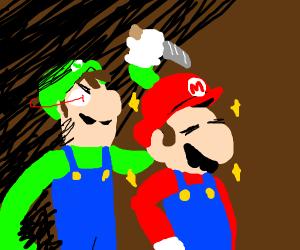 Luigi's ready to stab Mario