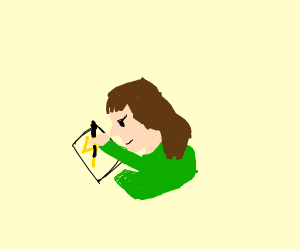 girl with green shirt draws lightning