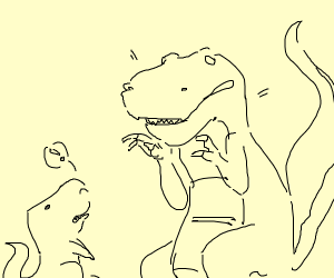 an adult dino giving advice to a baby dino