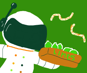 man with 2 worms in space with a box of limes