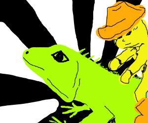 cowbow on lizard