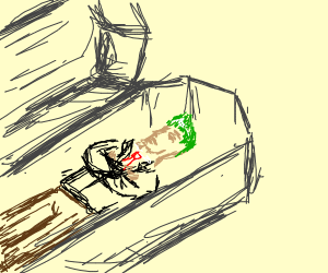 Dead person with green hair