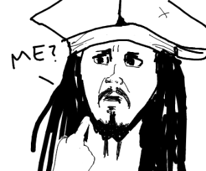 pirate points at himself and says, 'me?'