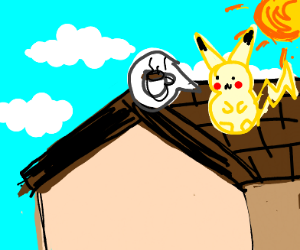 pikachu is stuck on the roof and wants coffee
