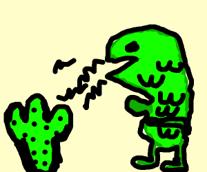 t rex screaming at cactus
